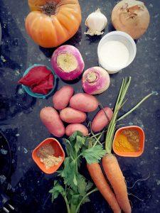 préparation curry légumes