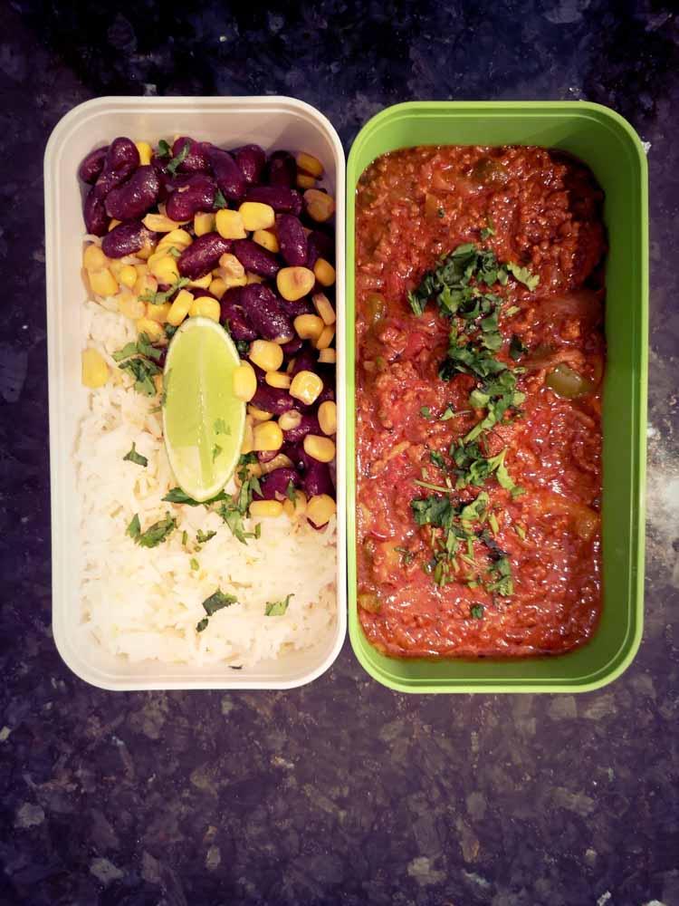 chili con carne facile dans une lunchbox